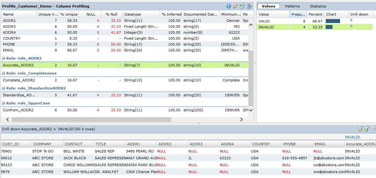 Data Profiling with Informatica Data Quality Chart (A.11)
